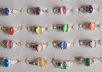 GET 15% OFF IF BUY 2 OR MORE LOTS! cat eye rings silver-tone ring wholesale lot mixed size #050-50 fashion costume jewelry