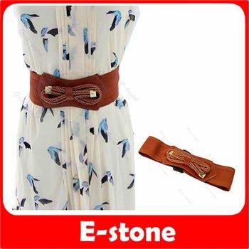 D19+New Lady Fashion Weaved Bowknot Pattern Waist Elastic Belt Girdle Strap Coffee