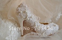 BS299 free shipping new style high heel lace pearl bridal wedding shoes