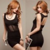free shipping FY0419 fashion sexy dig back exquisite body black lady party dress