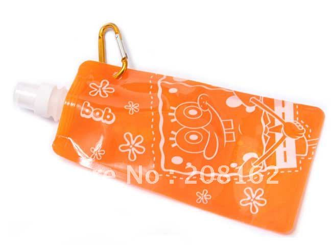 SpongeBob Portable Water Bag Collapsible Water Jug Folding Bladder Outdoor Bottle (480ml)(China (Mainland))