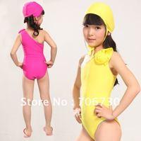 2012 (10Pcs/Lot)Free Shipping Wholesale High Quality Children's/Kids Shoulder Llower Swimsuit,Girls One-Piece Swimwear,3-10years
