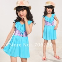 2012 (10Pcs/Lot) Free Shipping Wholesale High Quality New Children's/Kids Swimsuit,Sweet Princess Skirt Girls One-Piece Swimwear
