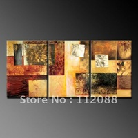 WHOLESALE!High Quality!100%Handmade home WALL ART decor group abstract Oil Painting on Canvas,red &gold group painting 12x24x3in