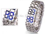 Free shipping 50 pcs Newest fashion Lava style iron samurai red light metal Men's LED watch,
