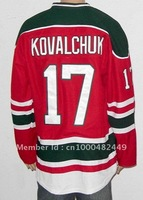 Free Shipping!!! New Jersey #17 Ilya Kovalchuk third red green jersey