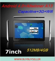 7inch Capactive Allwinner A13 tablet pc Android 4.0 1GHz 3G wifi 512MB 4GB MALI 400 Q88 6 color