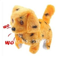 Free Shipping Cute Funny Electric Walking Barking Puppy Dog Doll Toy Yellow Color with Fleck