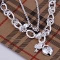 N190 wholesale fashion jewelry 925 silver necklace key pendant crystal heart necklace 925 costume jewellery gift free shipping