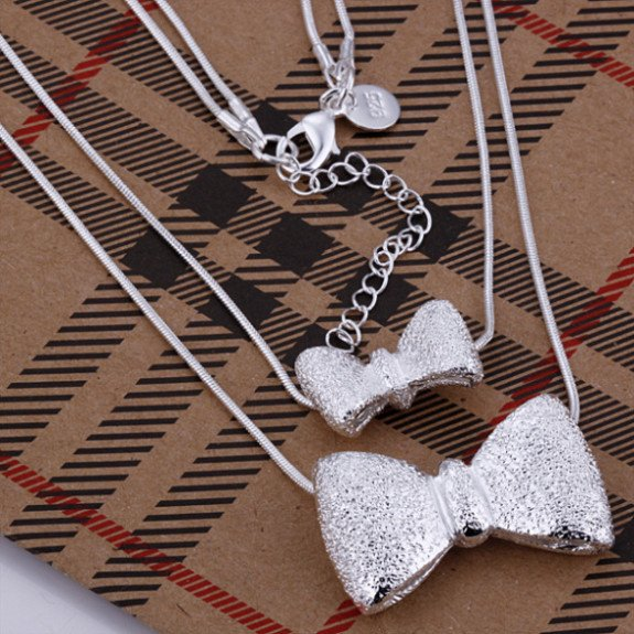 N211 wholesale fashion jewelry 925 silver necklace double bowknot necklace silver costume jewellery gift(China (Mainland))