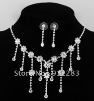 Free Shipping 6 sets Silver Plated Rhinestone Flower Necklace Pendant Chain Stud Earrings Jewelry Set
