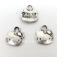 Free Shipping 100 Pcs Silver Tone Lovely Cat Charm Pendants 12x11mm(W01619 X 1)