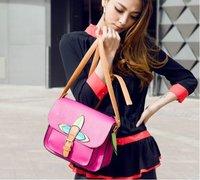Drop/Free shipping  promotion colorful pu leather shoulder  bag tote bag women handbags Wholesale/Retail SALES