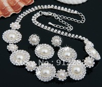 Free Shipping 6 Sets Round Silver Plated Crystal Bridal Faux Pearl Necklace Stud Earrings Jewelry Set, Fashion Jewelry Set