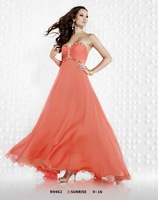Free Shipping!sweet neckline chiffon empire beach custom-made pink evening dress 2013