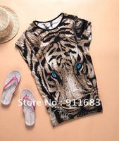 Tiger printed Tshirt Long Tops Womens Summer Tees Blue Eyes Popular T shirt Hot Sale Fashion NWT Milk silk Animal pattern