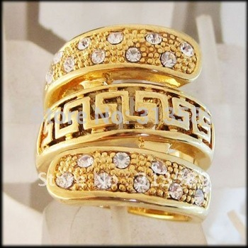 MIN ORDER 10$/FREE SHIPPING/ TOP QUALITY 18K YELLOW GOLD GP OVERLAY SOLID FILL BRASS GREEK KEY CZ RING  SZ 7  9 10/GREAT GIFT/
