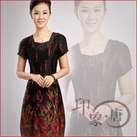 Free Shipping* 2012 satin female summer fashion silk one-piece dress mulberry silk improved cheongsam dress @Cheongsam