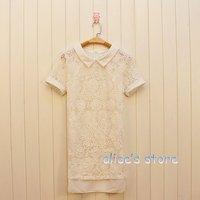 2012 summer new lapel stitching full chiffon lace dress