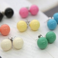 Min.order is $10 (mix order) Wholesale Cute Candy Color Simple Ball Stud Earrings Vintage Fashion Jewelry Multicolor