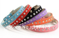 6 colors free shipping clear rhinestone soft genuine leather dog collar,Color Rhinestone Gunuine Leather Pet Collar Dog
