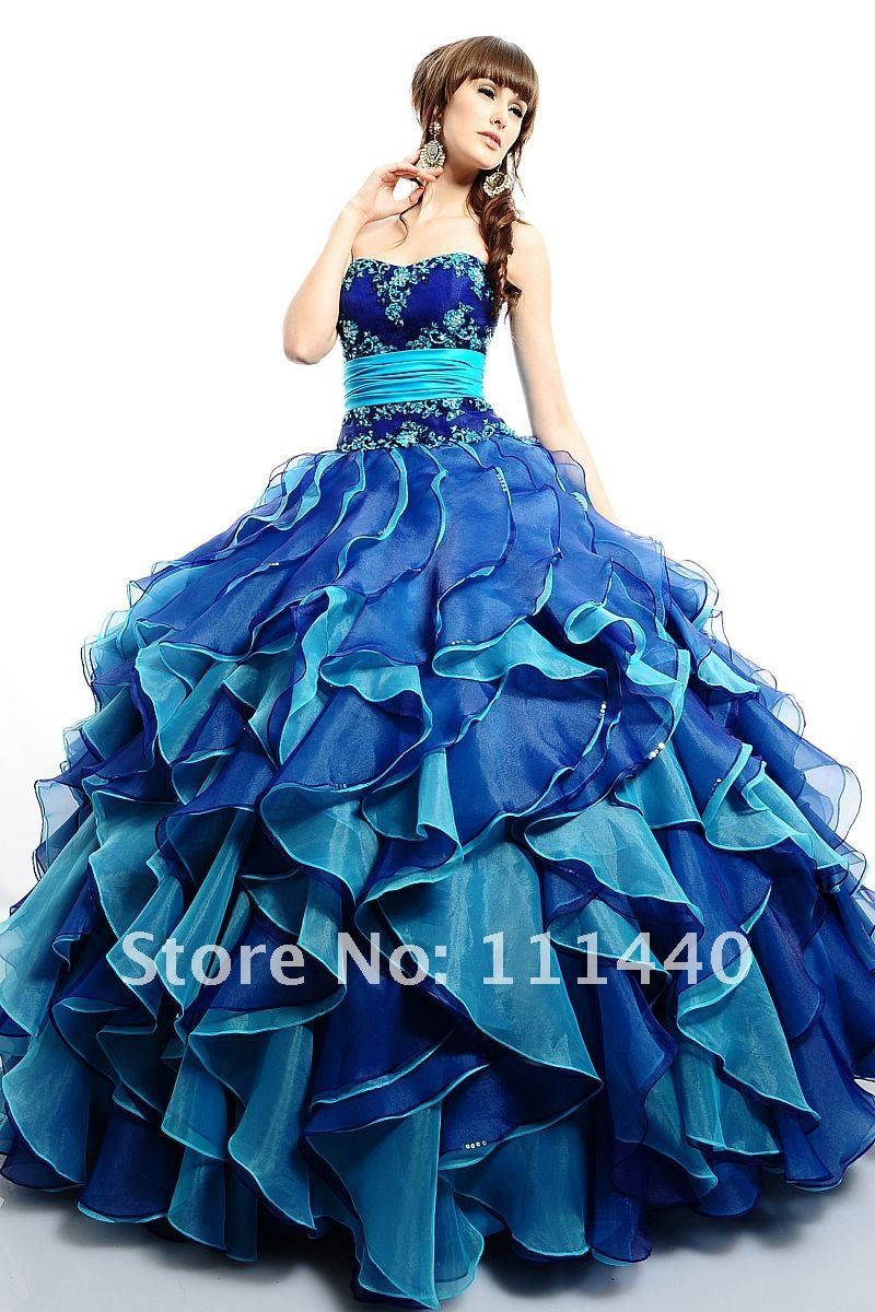 2012 New Hot Sale Quality Assurance sapphire blue A-Line Wedding Dress(China (Mainland))