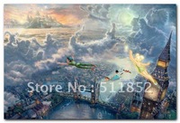 Thomas Kinkade Print Art Peter Pan Tinker Bell On Canvas Never Fade .. @T15