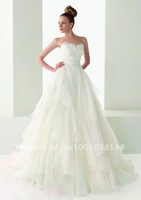 Free shipping 2012 Strapless Ivory Ball Gown Design Bridal Wedding Dresses