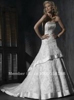 Free shipping 2011 Strapless Beaded Straight Neck Lace Bridal Wedding Dress