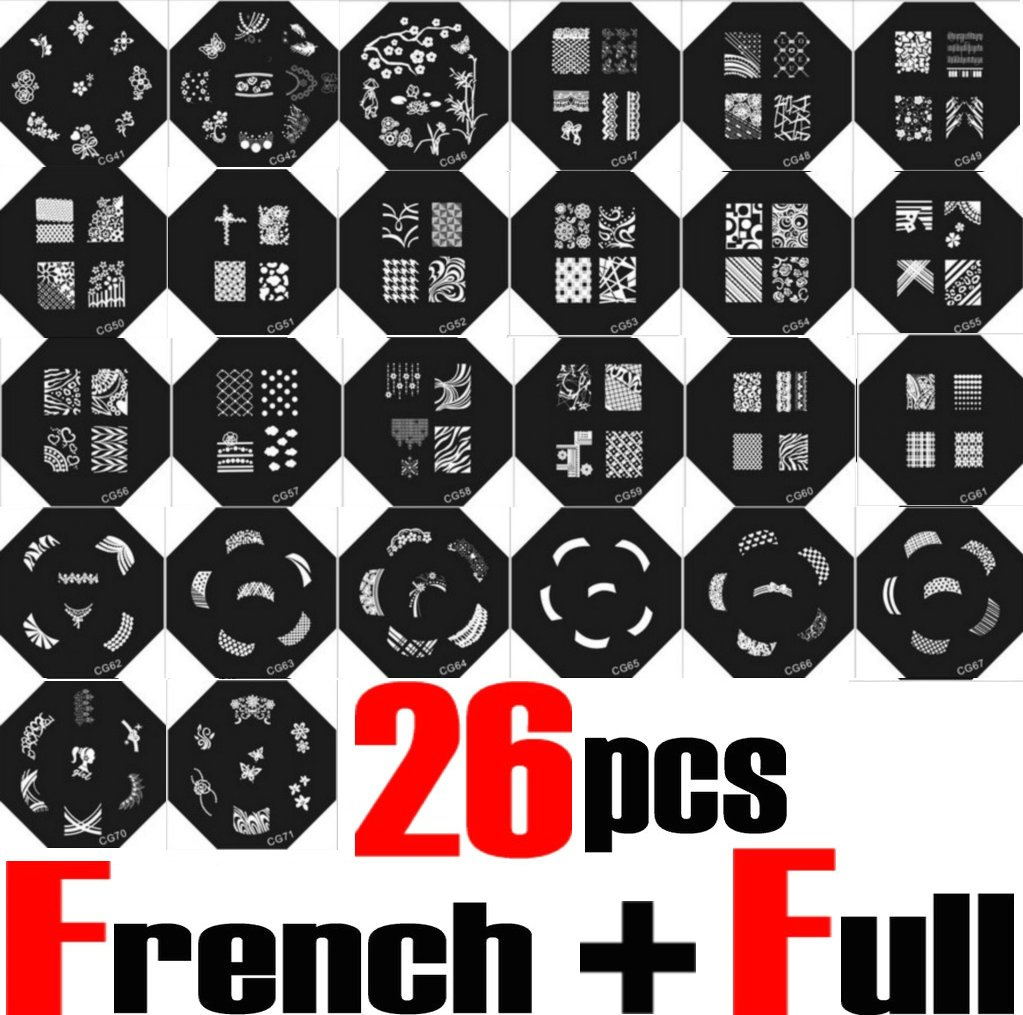 Wholesale 65pcs nail stamping stamp plate full design image disc 26 style nail art stamp stamping image plate french full nail konad designs print template tips diy free stamper scraper prinsesfo Image collections