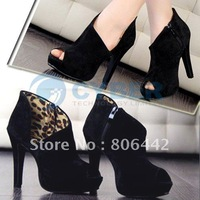 2012 Fashion Sexy Fish Mouth Women's Super High Heel Shoes Pump Platform Velvet Free Shipping