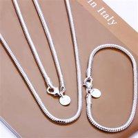 bracelet necklace ring earrings mix, 925 silver jewelry, fashion jewelry 3MM Snake Bone Chain Two-piece Set S076