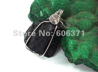 20g Black Tourmaline block alloy pendant TRP163