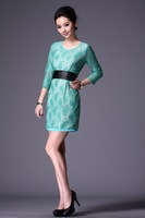 2012 AMIO silk plus size clothing OL outfit lace three quarter sleeve fashion one-piece dress