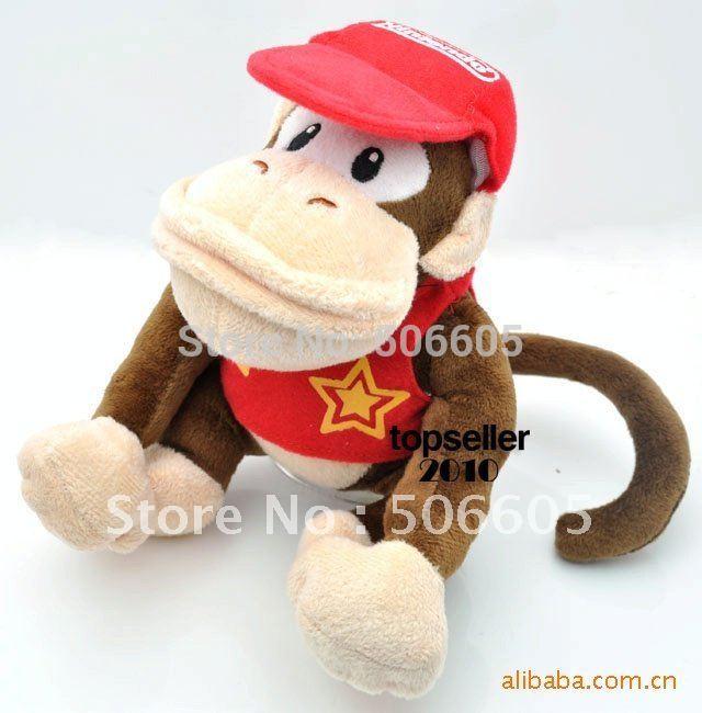 "free shipping EMS 50pcs/lot super mario bros diddy kong donkey kong Gorillas 8"" plush toy(China (Mainland))"