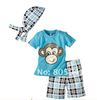 Free shipping retail Turban+short shirt+pants  Monkey Baby suit Baby Clothes Set