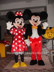 Adult Mickey Mouse And Minnie Mascot Costumes Halloween Outfit Fancy Dress Suit Free Shipping(China (Mainland))