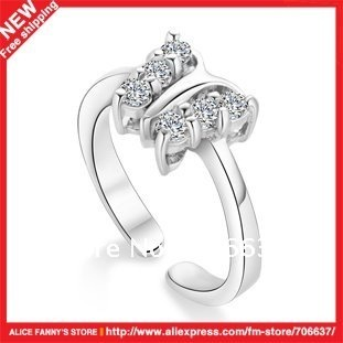 925-sterling-silver-rings-Clean-silver-jewelry-Diamond-Butterfly