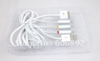 5pcs/lot TV RCA Video Composite AV Cable +USB cable for Apple iPad 2 iPhone 4 4G 3GS iPod Touch drop shipping