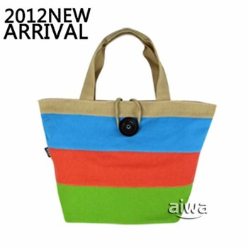 free shipping aiwa free A008 canvas strpied colorful shoulder and hand bag for cute and Kawayi student  in Summer