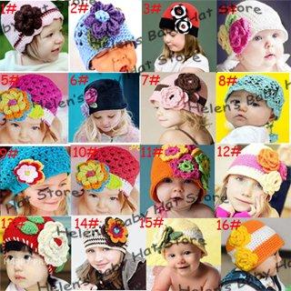 Fashion-Crochet-Flower-Baby-Hat-Handknitted-Kids-Crochet-Autumn-Winter ...