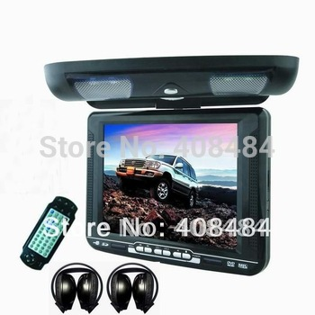 10.4 Inch Flip Down Monitor Car DVD Player Roof Mount DVD Player 2PCS IR Headphones Game IR USB SD FM Free Shipping Retail/Set
