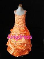 Free shipping  Pink Chiffon Handmade Flowers Princess Flower Girl Dress