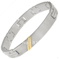 Best selling !!STAINLESS STEEL AND 10KT ID BRCELET WITH 0.07 DIAMONDS 8.5""