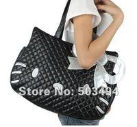 Retail 1PCS Free Shipping Black PU Women Lady Hello Kitty Waterproof Handbags Shoulder bags KT-2174