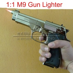 Free shipping 1pcs Large M9 Gun Lighter Butance Gas Pistol Lighter Windproof Red Flame Gun Toy For Cigarette/Decorative/Camping(China (Mainland))
