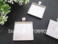 Free shipping Wholesale  25mm  Silver and antique bronze  square Cabochon Pendant Base  20pcs/lot