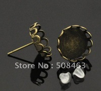 Ship Free !  200pieces/lot  12mm lace antique Cameo Settings Earring Clips