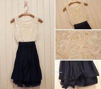 2012 summer roses take chiffon pressure waves fold the Bottom vest dress