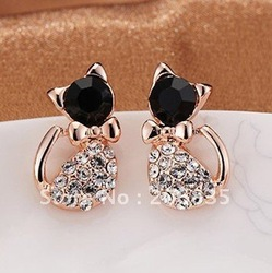 Free shipping~Hot Sell Fashion Earrings/Fashion jewelry/Lovely Rinestone Cat Earrings(Mini Order Is $10+Gift,Mix Order)(China (Mainland))